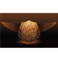 Vintage emblem with shield and wings vector