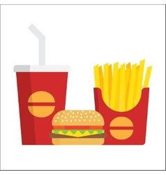 French fries burger and soda vector