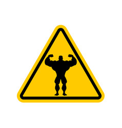 attention bodybuilding athlete on yellow triangle vector image