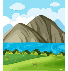 Background scene with lake and mountains vector