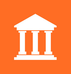 Bank building icon in flat style museum on orange vector