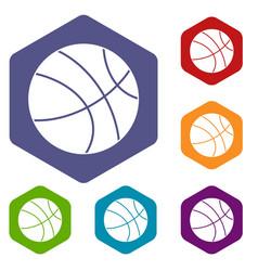 Basketball ball icons set hexagon vector