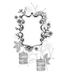 beautiful label with cage vector image vector image