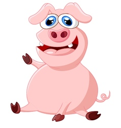 Cartoon pig waving hand vector image