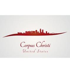 Corpus christi skyline in red vector