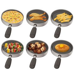 Different food in the frying pan vector