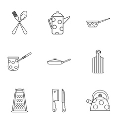 Dining items icons set outline style vector