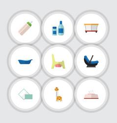 Flat icon child set of playground napkin pram vector