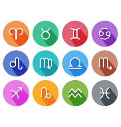 Flat trendy zodiac symbols with shadows vector image vector image