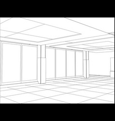 hall of an outline sketch vector image