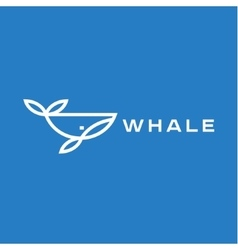 Logo whale in a line an outline flat design style vector image