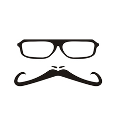 Men face with long mustache and huge glasses vector image vector image