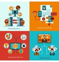 Online Education Set vector image vector image