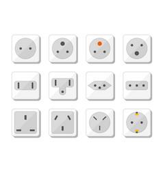 power socket icon set world standards for vector image