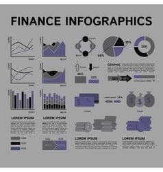 Set of Financial Infographics Elements in Shades vector image