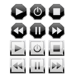 Set of player buttons square and octagon vector