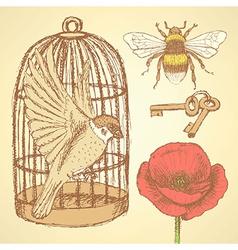 Sketch valentine set in vintage style vector