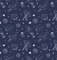 Space doodles icons seamless pattern hand drawn vector