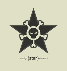 Star with skull and bones abstract design element vector
