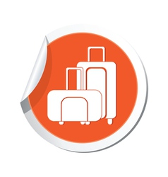 Suitcases icon orange sticker vector