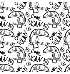 Tropical toucan seamless pattern vector