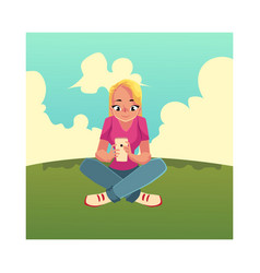 young woman playing with smartphone mobile phone vector image vector image