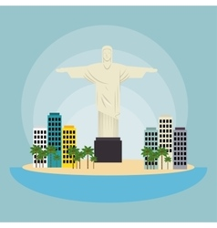 Monument christ brazil urban landscape vector