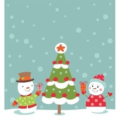 Loving couple of snowmen vector