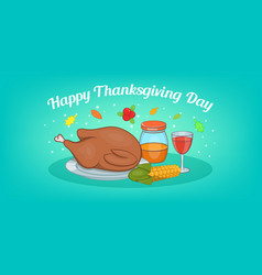 thanksgiving meat horizontal banner cartoon style vector image