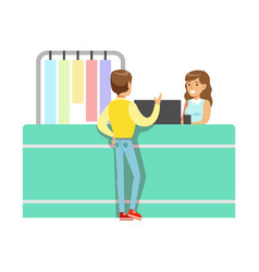Client and worker at dry-cleaning counter part of vector
