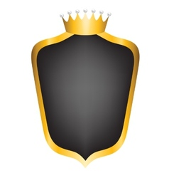 Black shield and crown vector