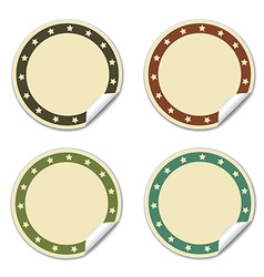 Circle sticker with stars beige vector