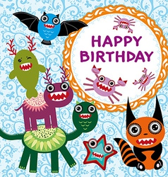 Funny monsters party card design vector