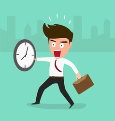 Businessman late going to work vector