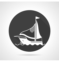Sail boat black round icon vector