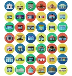 Set of the flat city buildings and shops vector