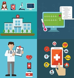 Health care and medical flat banners set with vector