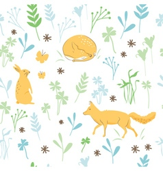 Childish animals pattern vector
