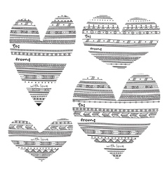 Ethnic pattern style heart shape gift tags vector