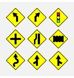 Set of road signs direction of movement vector