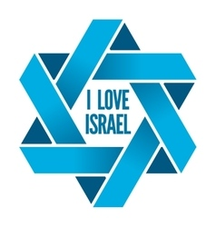 Israel or judaism logo with magen david sign vector