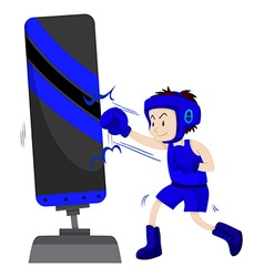Boxer in blue outfit punching on punching stand vector