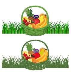 Basket-with-fruits color vector