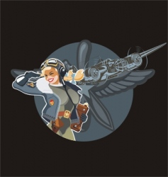 Military pin-up vector