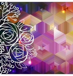 Abstract colorful background and rose vector