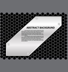 abstract metal sheet text gray hexagon vector image