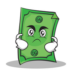 Angry face dollar character cartoon style vector