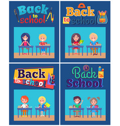 Back to school set of posters with pupils at desks vector