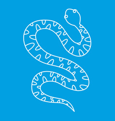 Black writhing snake icon outline style vector
