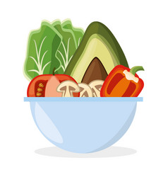 Bowl vegetables salad fresh delicious vector